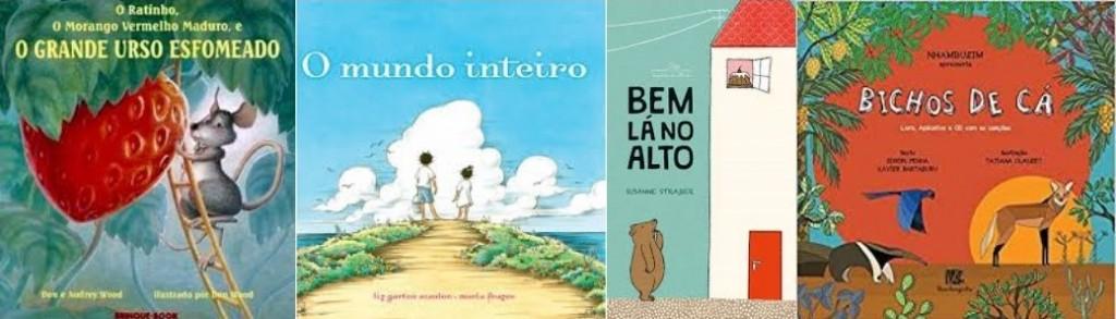 Capas de quatro livros para ler com as crianças