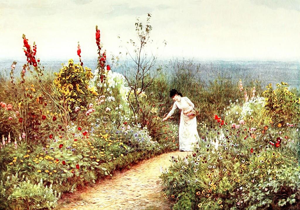 A imagem mostra uma pintura de uma mulher colhendo flores em um jardim.